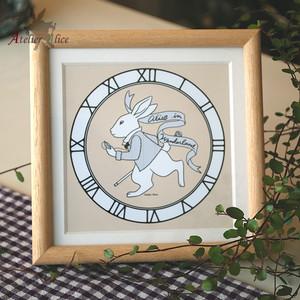 アリスの時計ウサギイラスト(カフェオレ色 / 額:無塗装)