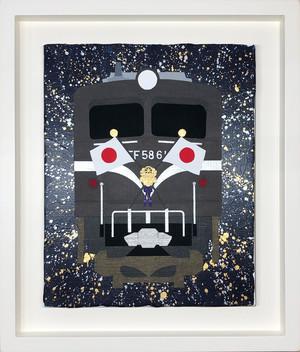 EF58-61号機 お召列車 オリジナル原画 キャンバスにアクリル絵具