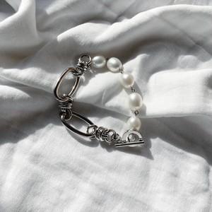 Baroque pearl & joint chain bracelet - silver < LSD-BA1PA3 >