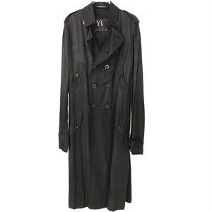 Y'S BLACK LONG TRENCHCOAT