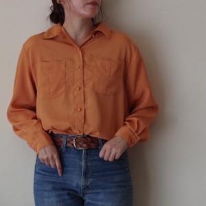 ブラウス / ポリ シャツ / くるみボタン 長袖