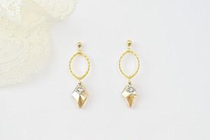【Dianess】ダイヤ型がきれいなピアス&イヤリング・ゴールド