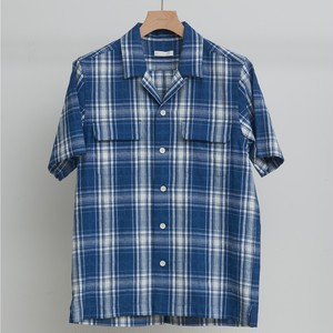 niuhans / INDIGO DOBBY CHECK OPEN COLLAR S/S SHIRT[Light Indigo]