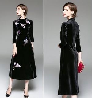 【送料無料】刺繍 ベルベット 7分袖 ロング 結婚式 二次会 ドレス 全2色