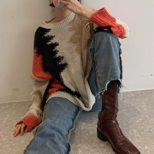 Retro mix color sweater(レトロミックスカラーセーター)a-834