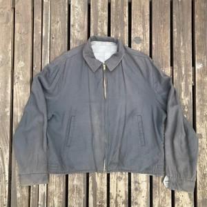 50s UNKNOWN レーヨン リバーシブルギャバジンジャケット 灰色 カスリ柄 実寸L CROWN