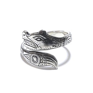 Vintage Northwest Coast Haida Sterling Silver Wold Ring