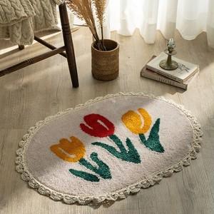tulip lace soft foot mat / アンティーク調 チューリップ フットマット バスマット ラグ 韓国 北欧