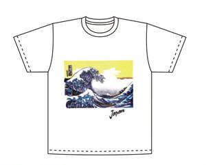 和柄Tシャツ 波富士