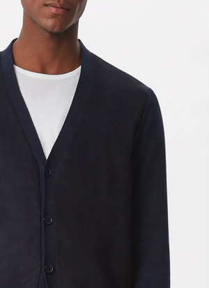 SUEDETTE AND COTTON CARDIGAN