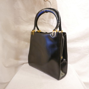 French black leather handbag