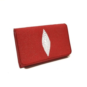 スティングレイ エイ革 本革 折財布 スナップボタン RED