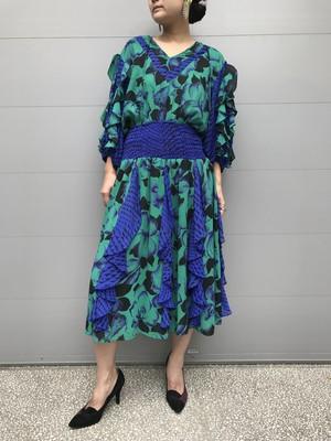 Susan freis green × purple  dress ( スーザンフレイス グリーン × パープル  縦フリル ワンピース )