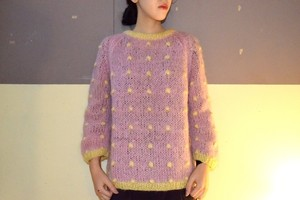 "VINTAGE ""Bobbie Brooks"" pink/white dot  knit sweater"