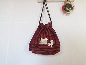 紬の白猫さん巾着袋