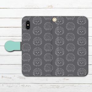 #053-058 iPhoneケース スマホケース 手帳型 全機種対応 ハリネズミ 動物 イラスト タイトル:ハリネズミ 水色 作:Hanami