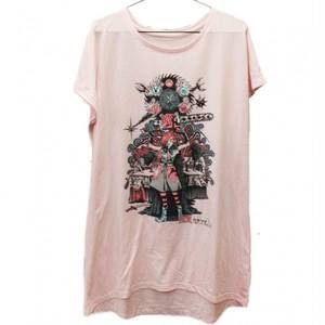 聖少女Line鎖切断ツアーイラストTシャツワンピース ピンク