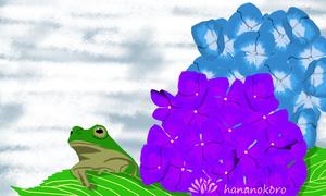 TSUBASA作「アジサイの咲くころ」・トートバッグS・送料、税込み