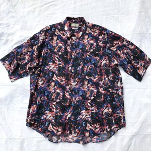 FACTOTUM ファクトタム / Rexell Psychedelic wide S/S Shirts / BLACK