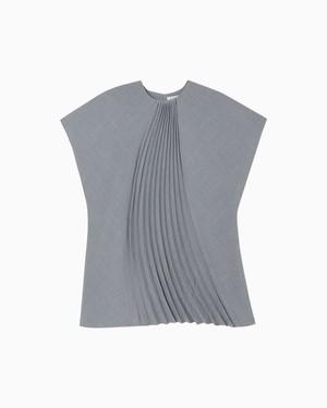 【Mame Kurogouchi】Curved Pleated Top-grey  MM21FW-SH020