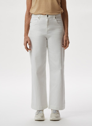 ELASTIC COTTON DENIM TROUSERS