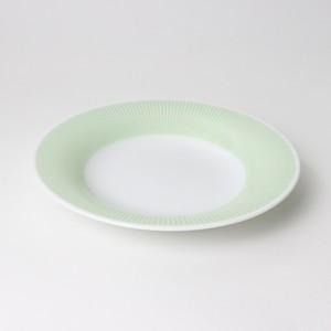 【SL-0100】磁器 22cm 深皿 ストライプ・グリーン