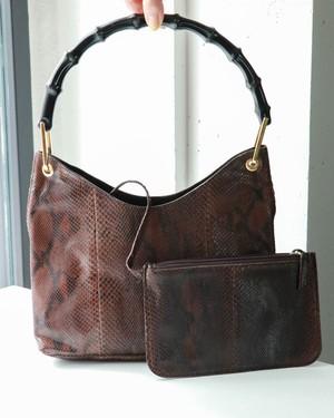 GUCCI snake-skin bamboo handbag
