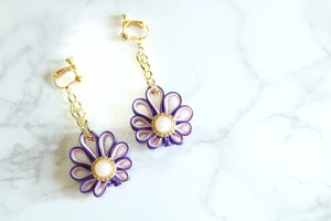 pierce/earring China button Daisy (pink)