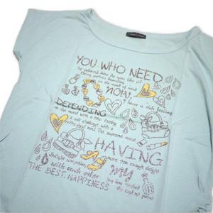 Tシャツ レディース 半袖  青緑色地にハート・バッグのイラスト Mサイズ ショート丈 【ゆうパケットOK】3枚まで可 [170005]