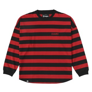 THICK STRIPE LETTER L/S TEE / RED×BLACK