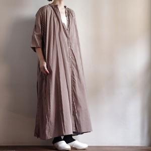 Select Item / Stripe Cotton Dress #Brown / ストライプ コットン ドレス