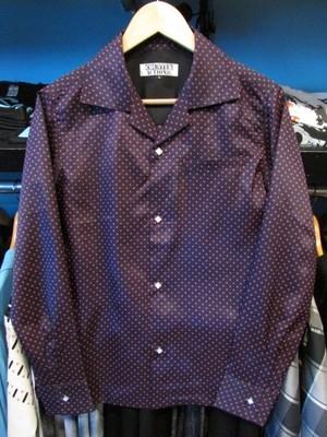 L/Sシャツ ドット ブラック×ピンク