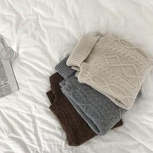 【送無】予約*3color:Turtleneck Soft Cable Knit ケーブルニット セーター タートルネック 送料無料