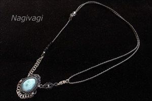 Larimar silverwire micromacrame necklace