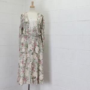 80〜90年代 USA製 花柄 ワンピース レース アメリカ古着 レディース パステルグリーン M〜L  80〜90's Usa Used Rayon Floral Dress