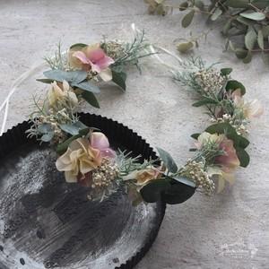 【花冠】アジサイとシャビーシックかすみ草のハーベスト花冠