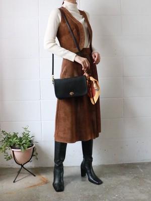 70s suede skirt+vest set up