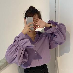 【トップス】韓国系スウィート抜群なデザインスピーカースリーブシングルブレストシャツ