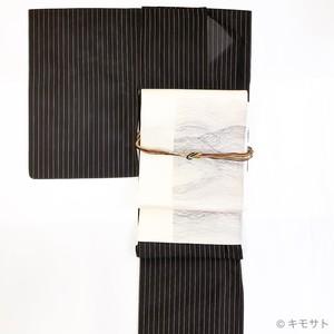 セット 夏キモノ黒×金の縞に夏の袋帯(KC0005TT)