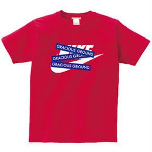 プリント ロゴ Tシャツ 半袖  レッド ブランドパロディデザイン!GRACIOUS GROUND ボックスックスロゴ レッド