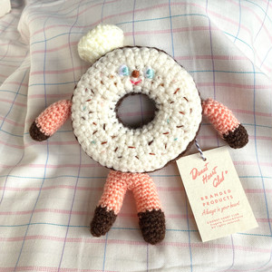 Doughnut Man knitted soft toy (WHITE icing)