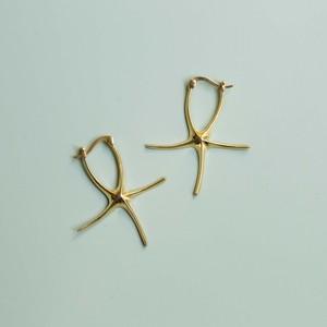 JEPUN starfish pierced earrings -gold-