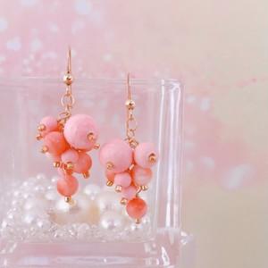 【Sako Yamada×CORALIA】 CCCP-grape-B-Sサイズ ピンクサンゴ×CCCP(ピンク) チェンジングカラーコットンパール ピアス/イヤリング