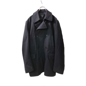 DKNY WOOL HALF COAT NAVY