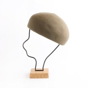 mature ha./Japanese old wooden block beret/mocha