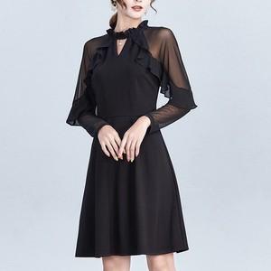 ワンピース❤韓国ドレス シンプルだけど可愛いフリル付きシースルーワンピース hdfks962770