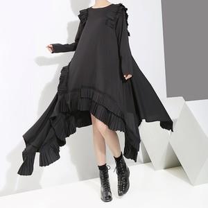 不規則デザイン ワンピース プリーツ アシンメトリー フリル 韓国ファッション レディース ゆったりウエスト ルーズ 大人カジュアル 大人可愛い ガーリー / Irregular pleated skirts sco retro dress