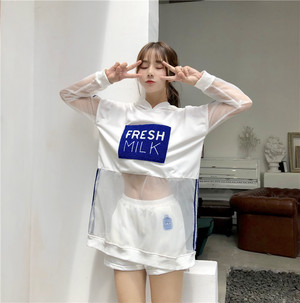 【set】アルファベットカジュアルフード付きTシャツ+ショートパンツセットアップ21042372