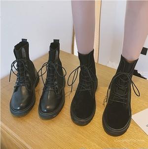【シューズ】秋冬レトロキュートキャンパス暖かいミドルヒール丸トゥミドル丈ブーツ