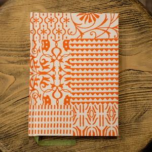インド製 オレンジハンドプリント A6罫線Colorisノート ポータブルサイズ
